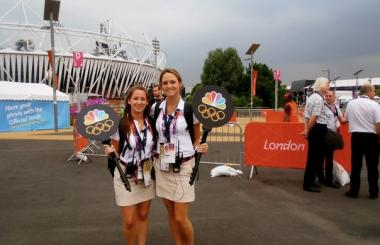 Keely Cashen (left) as an intern during the 2012 Summer Olympics.