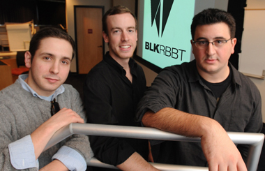 Patrick Reagin '10, David Buttrey '10, and Joe Fleming '10, founders of BLKRBBT.